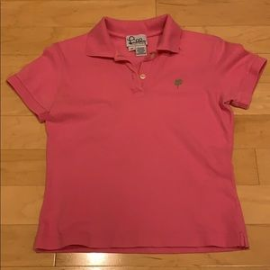 Lilly Pulitzer polo in pink with green palm logo